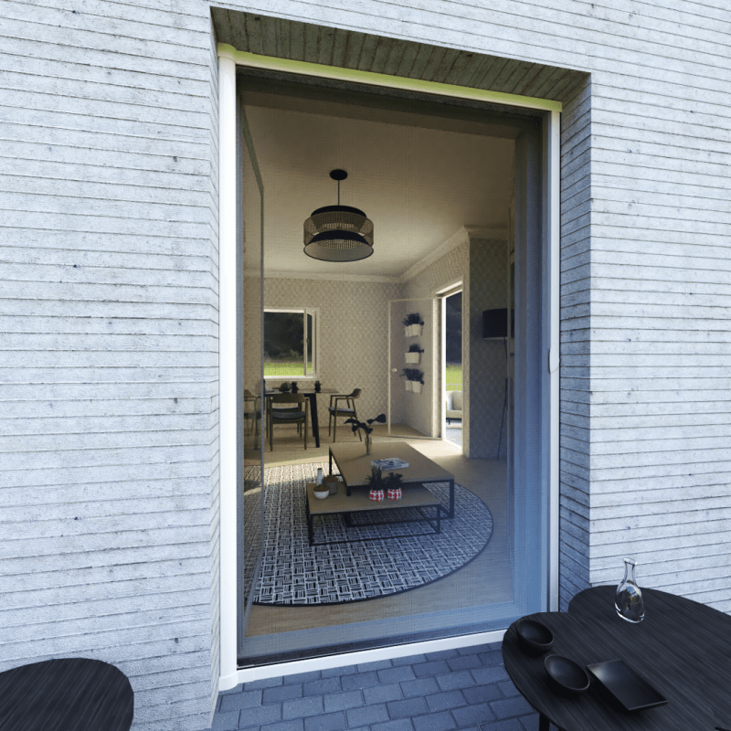 Moustiquaire porte sur-mesure enroulable latérale kocoon blanc vision extérieur